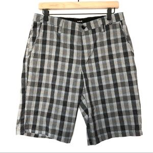 Hurley Flat Front Casual Golf Shorts Plaid Mens 30